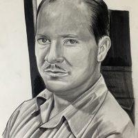Progress on the Robert A. Heinlein portrait I'm working on.  #RAH #RobertAHeinlein #blackandgreyrealism #pencil #pencilsketch #scifimasters #scifiwriter #fishink