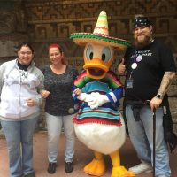@azxure @sarawithnohh and I hanging out with #TheDonald at the #MexicanWall. This is my Donald #epcot #foodandwinefestival2016 #TheWall