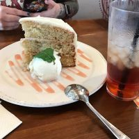 Hummingbird cake. The glass is for scale! #anniversarytreats