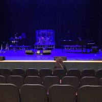 Waiting for @bigbadvoodoodaddyofficial to go on at the @coralspringscenterforthearts with the family. These are some great seats if a bit in the small side. #bigbadvoodoodaddy #swing #neoswing #jumpswing