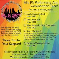 My daughter and her #dancecompany are hosting their annual Winter #raffle! Who doesn't want to win? You can't win if you don't buy a ticket! PayPal or Venmo or Zelle will get you as many tickets as you want! Buy them now before we run out! We did have a limited number of tickets printed – that means you have a significant chance of winning! We will ship the watch or the cash card! #applewatch2 #cash #dining #massage #winetasting #win #winnerwinnerchickendinner